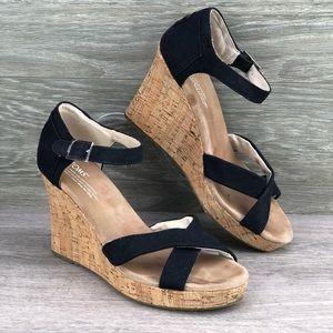 af0e14f86751 TOMS • Black Cris Cross Strappy Cork Wedge Sandal